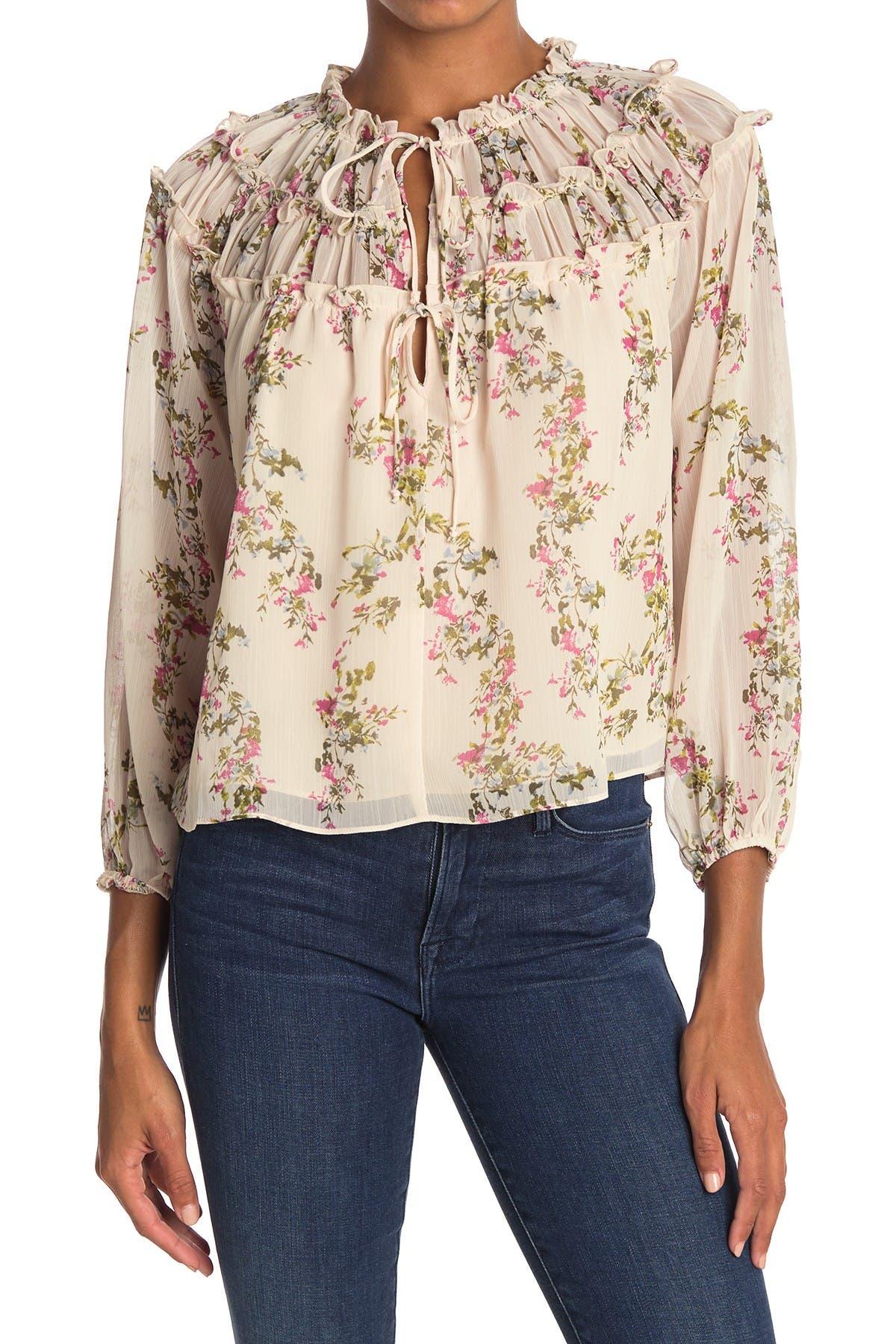 Image of Socialite Tie Neck Floral Print Blouse