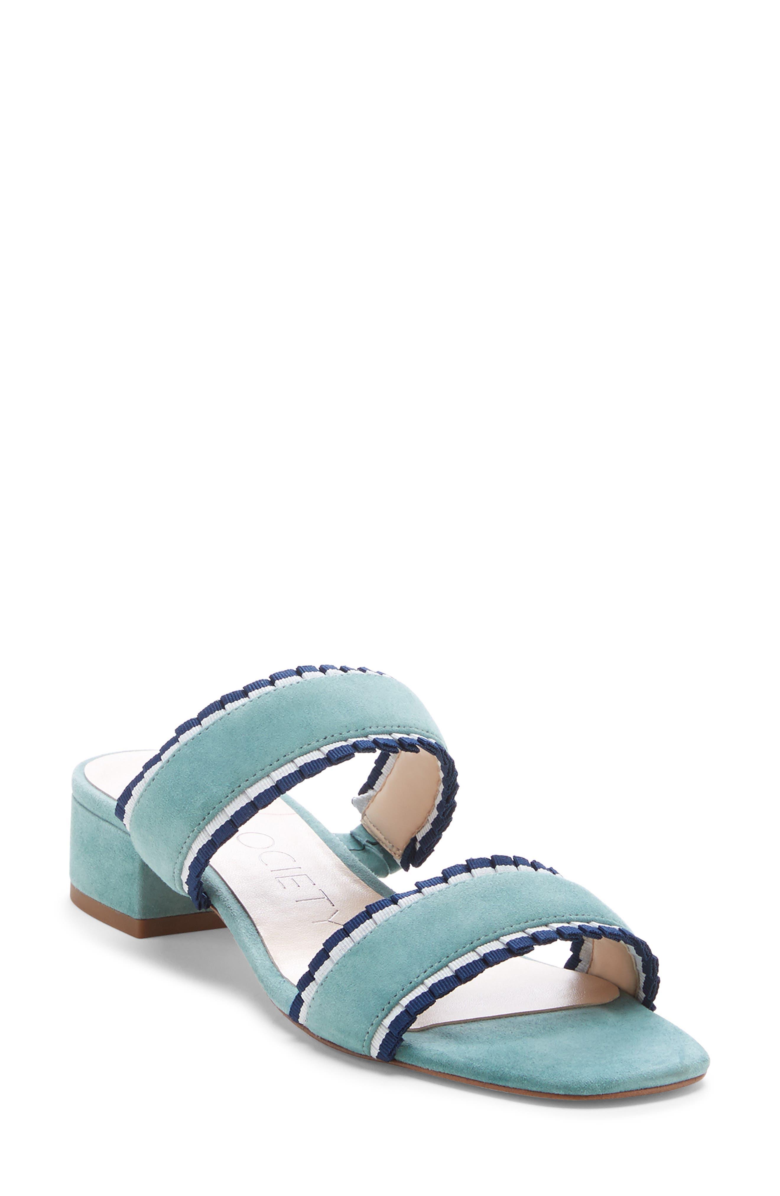 Elura Slide Sandal, Main, color, LIGHT SEA GREEN SUEDE
