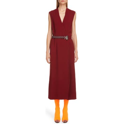 Victoria Beckham Surplice Midi Dress With Leather Belt, US / 10 UK - Burgundy
