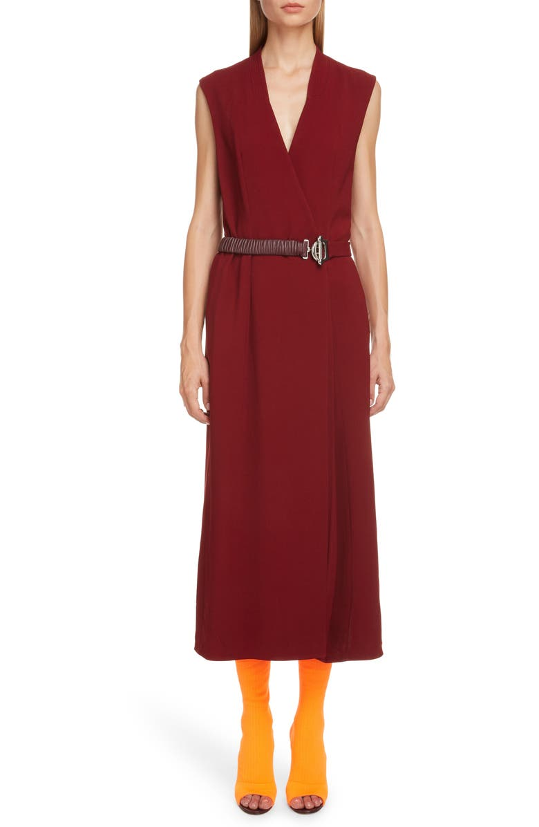 VICTORIA BECKHAM Surplice Midi Dress with Leather Belt, Main, color, 933