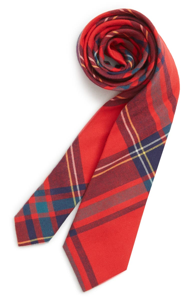 NORDSTROM Plaid Cotton Tie, Main, color, 600