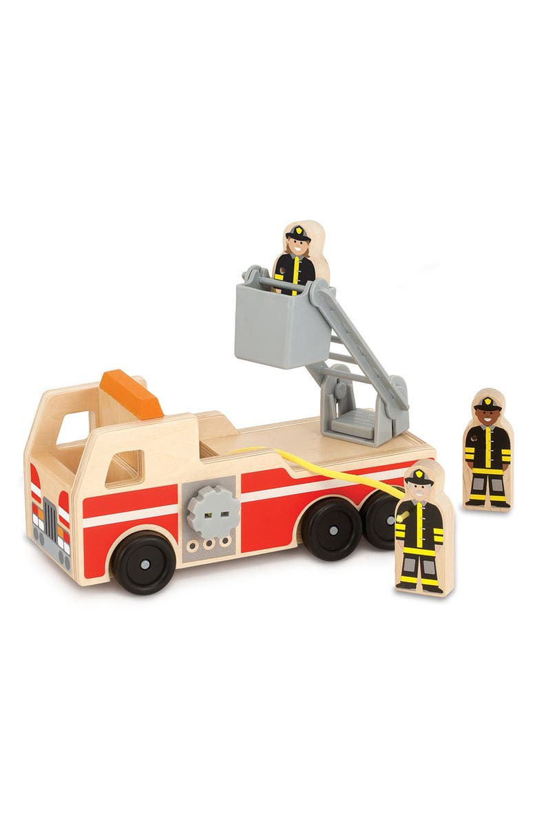 MELISSA AND DOUG Classic Wooden Fire Truck Play Set - 4 Pieces, Main, color, RED