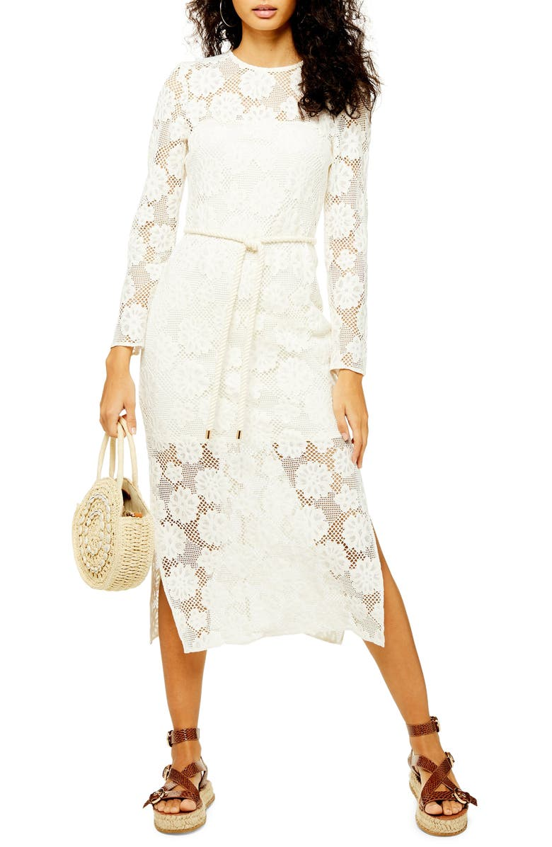 TOPSHOP Lace Rope Belt Midi Dress, Main, color, 900