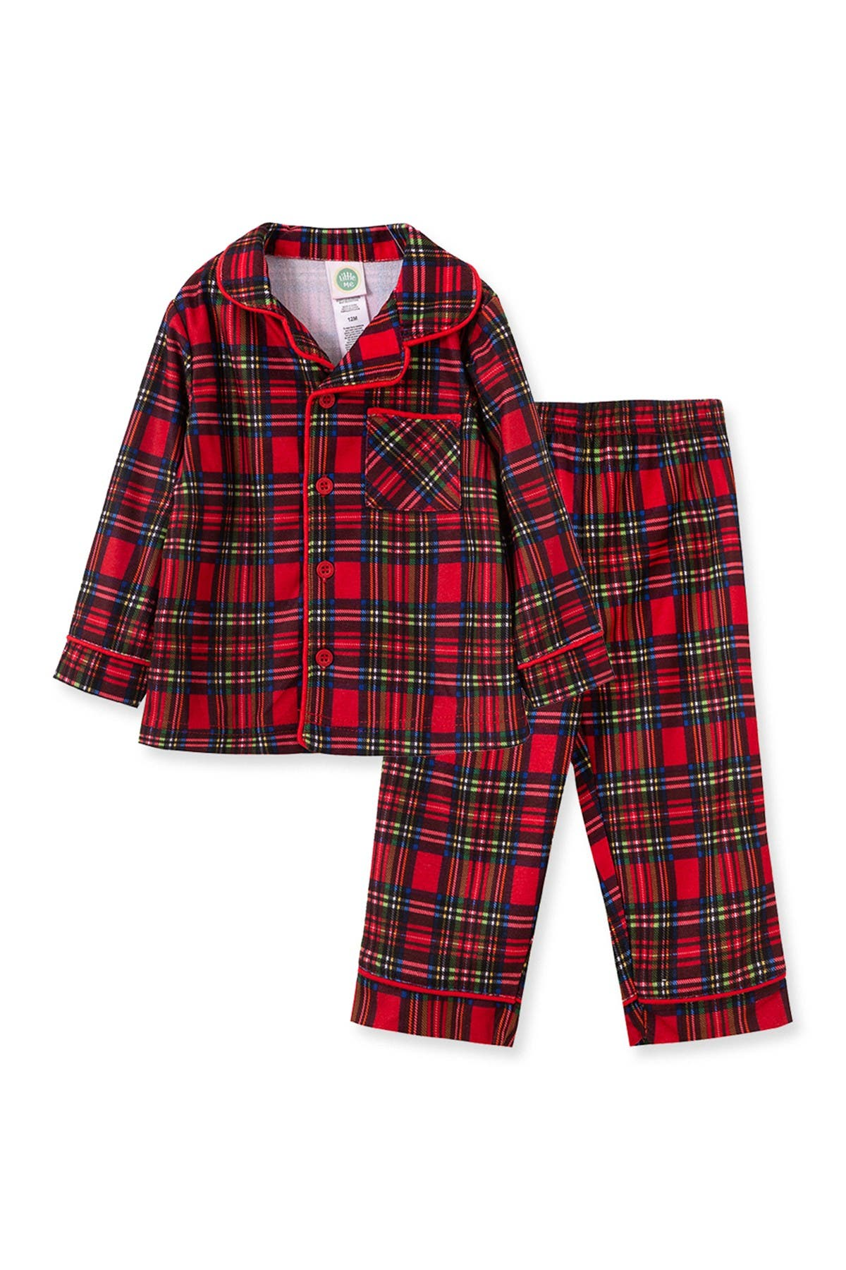 Image of Little Me Plaid Long Sleeve Pajama Set