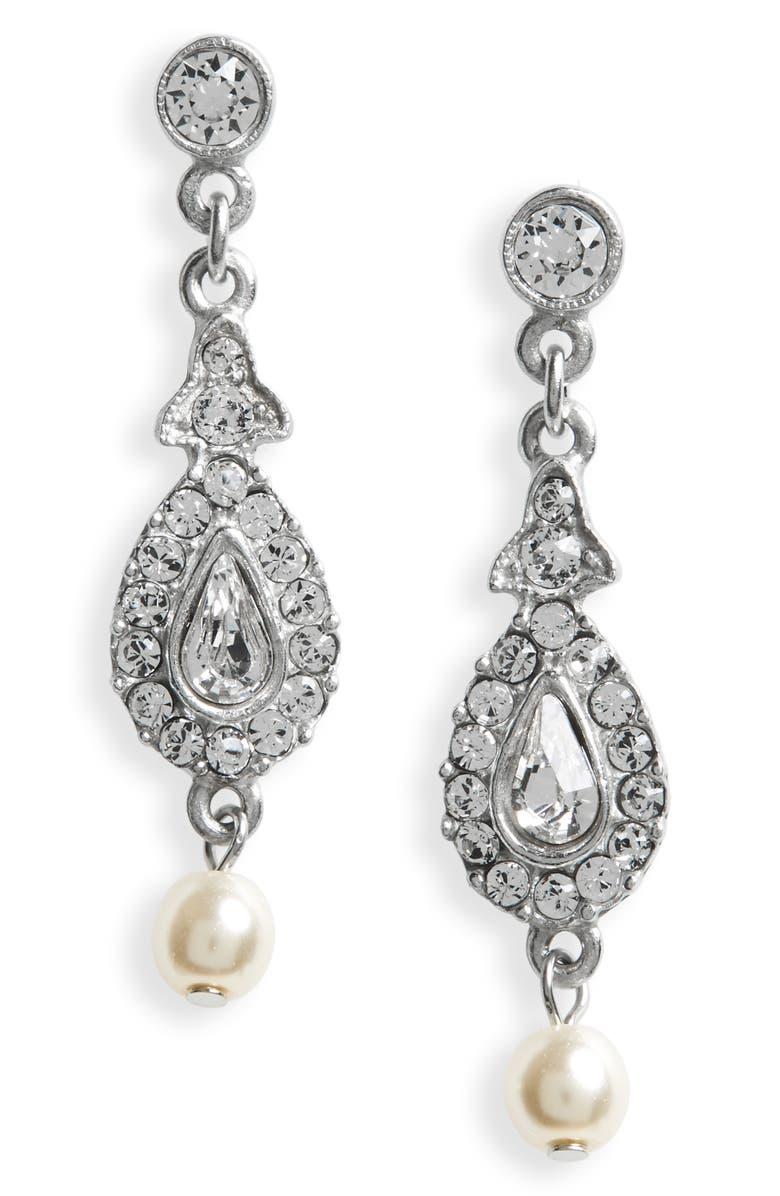 BEN-AMUN Glass Pearl & Swarovski Crystal Drop Earrings, Main, color, 040