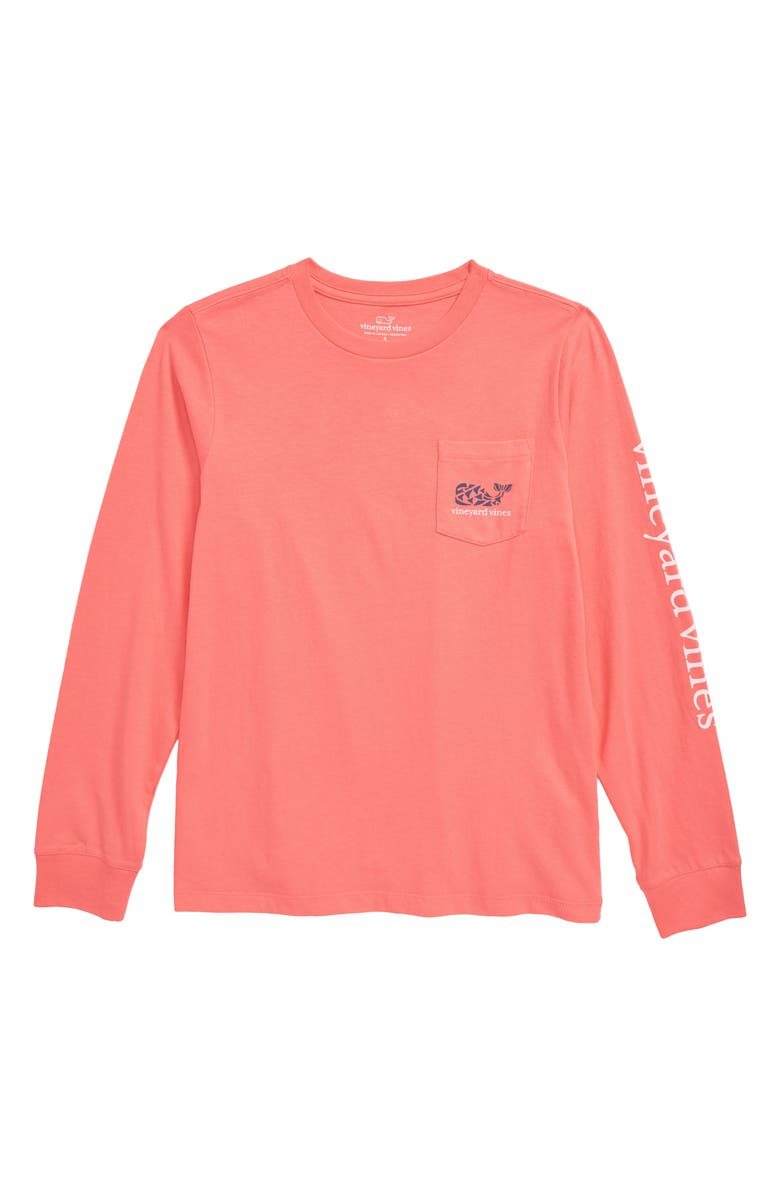 VINEYARD VINES Crab Stamp Long Sleeve Pocket T-Shirt, Main, color, MAI TAI