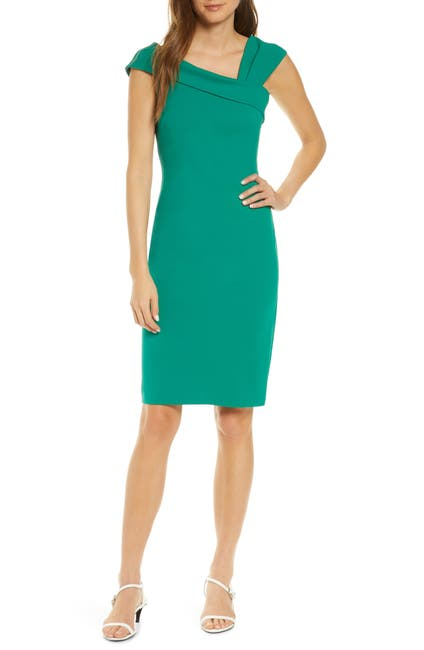 Image of Vince Camuto Asymmetrical Cap Sleeve Sheath Dress