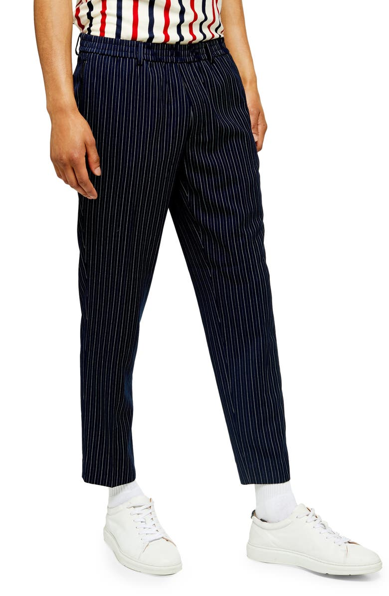 TOPMAN Needle Pinstripe Slim Crop Pants, Main, color, NAVY MULTI