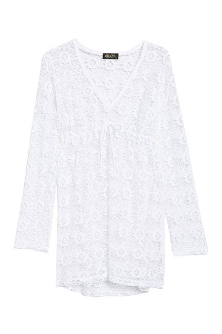 Image of Athena Front Tie Lace Knit Cover-Up Tunic
