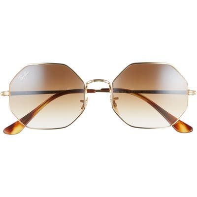 Ray-Ban 1972 5m Gradient Octagon Sunglasses - Gold/ Gradient Brown