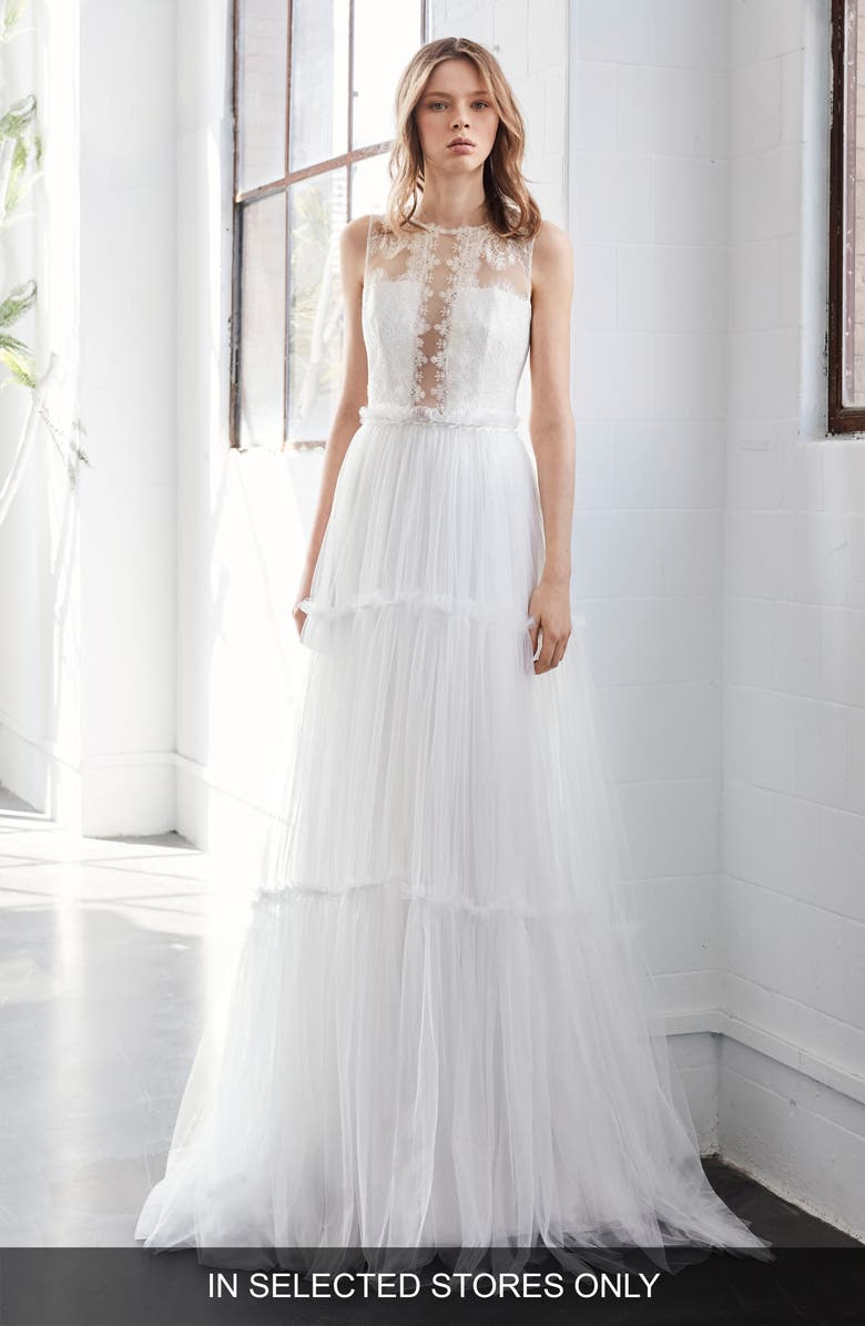 INMACULADA GARCÍA Jaspe Lace & Tulle A-Line Gown, Main, color, 900