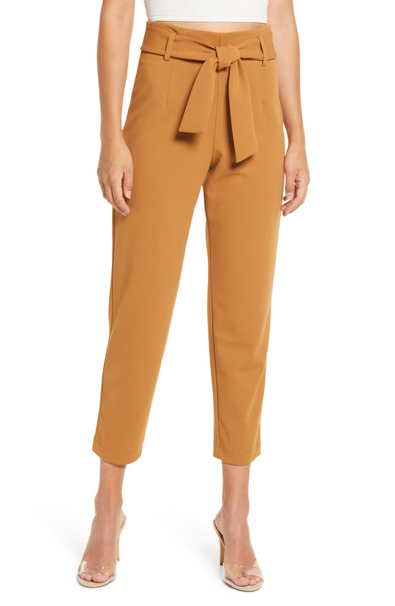 LEITH Belted Tapered Pants, Main, color, TAN DALE