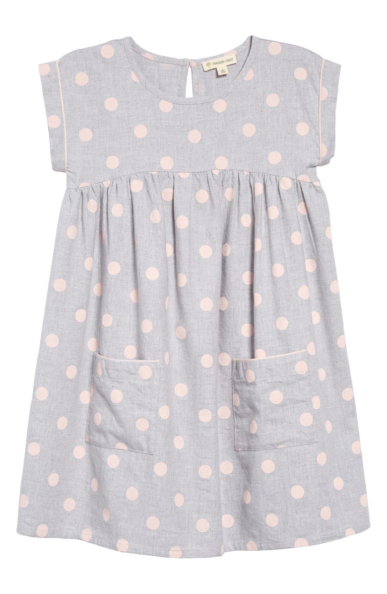 TUCKER + TATE Polka Dot Dress, Main, color, GREY ASH HEATHER DOT