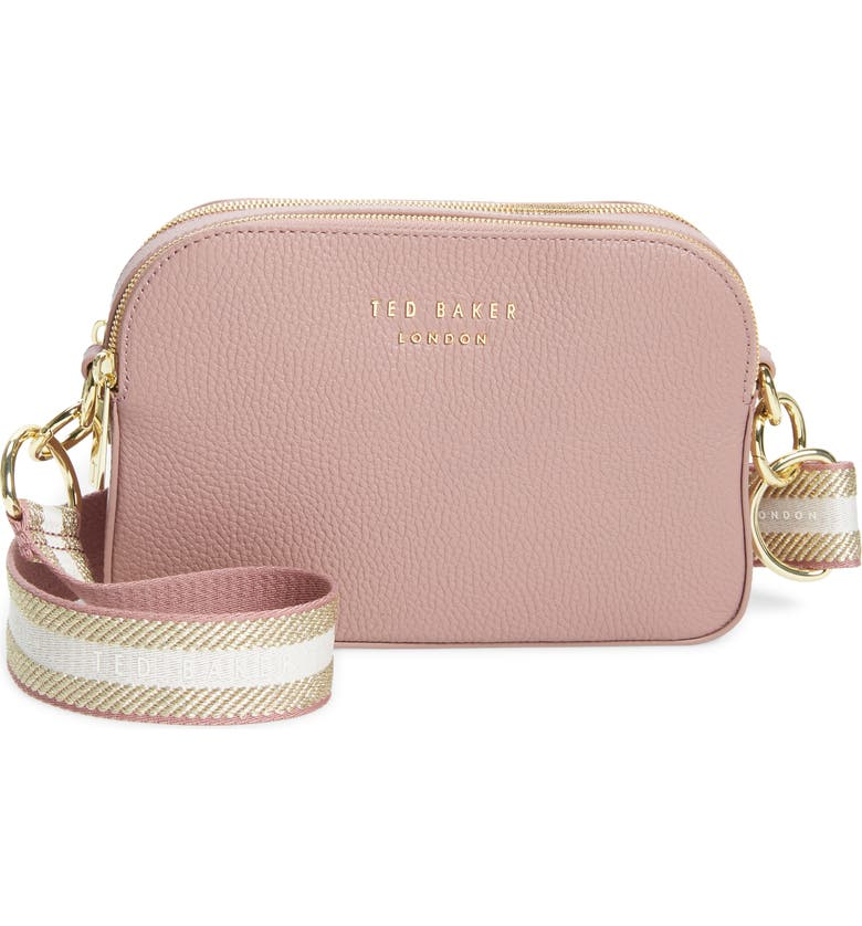 TED BAKER LONDON Amerrah Branded Strap Leather Crossbody Bag, Main, color, 660