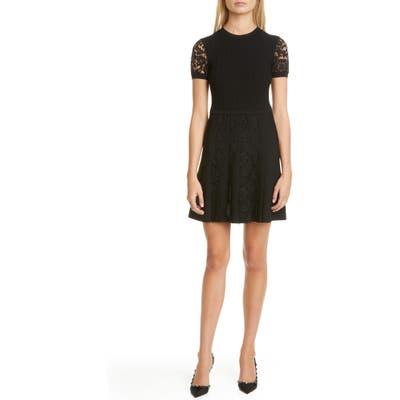Valentino Lace Trim Minidress, Black
