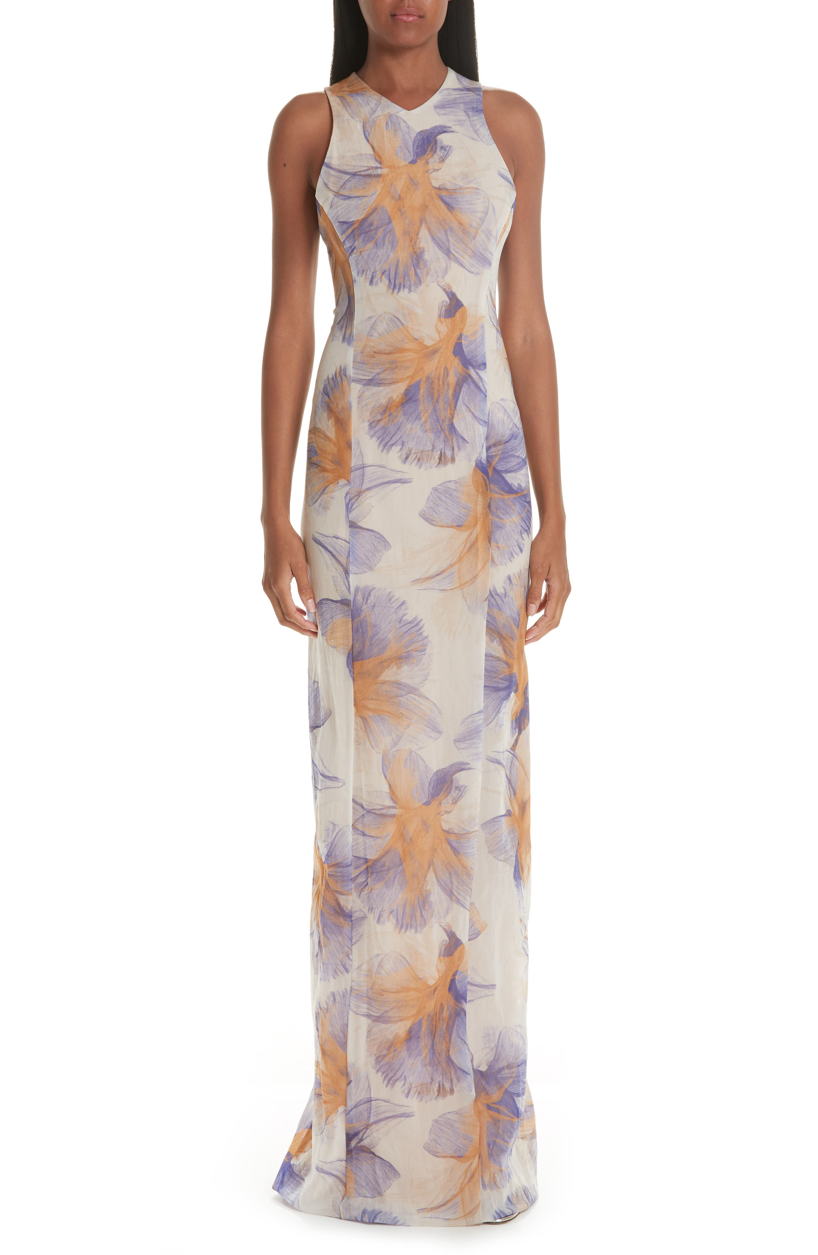 Galvan Abstract Floral Print Gown, US / 44 FR - Ivory