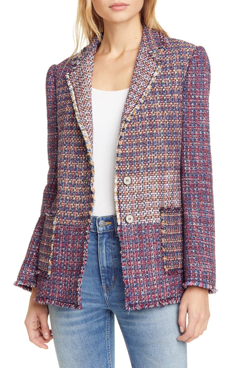 REBECCA TAYLOR Blanket Tweed Blazer, Main, color, MULTI