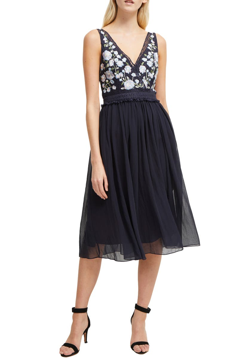 Abriana Embroidered Lace & Chiffon Cocktail Dress by French Connection