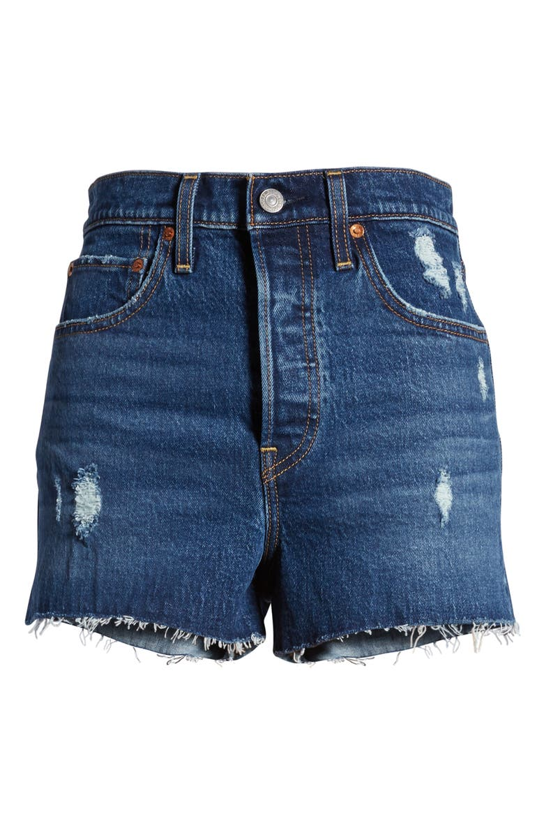 LEVI'S<SUP>®</SUP> Ribcage High Waist Denim Shorts, Main, color, CHARLESTON CHILL SHORT