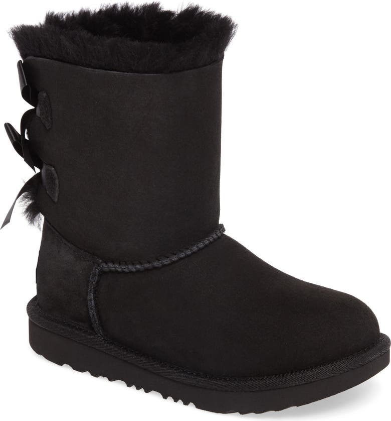 UGG<SUP>®</SUP> Bailey Bow II Water Resistant Genuine Shearling Boot, Main, color, BLACK SUEDE