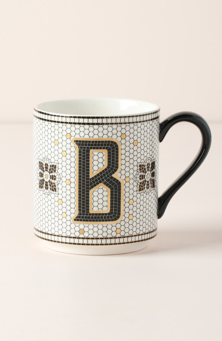 ANTHROPOLOGIE HOME Bistro Monogram Mug, Main, color, B