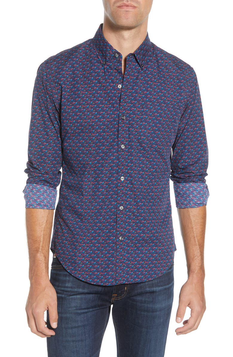 BONOBOS Washed Slim Fit Button-Down Sport Shirt, Main, color, HUMMINGBIRD - NIGHT BEATS
