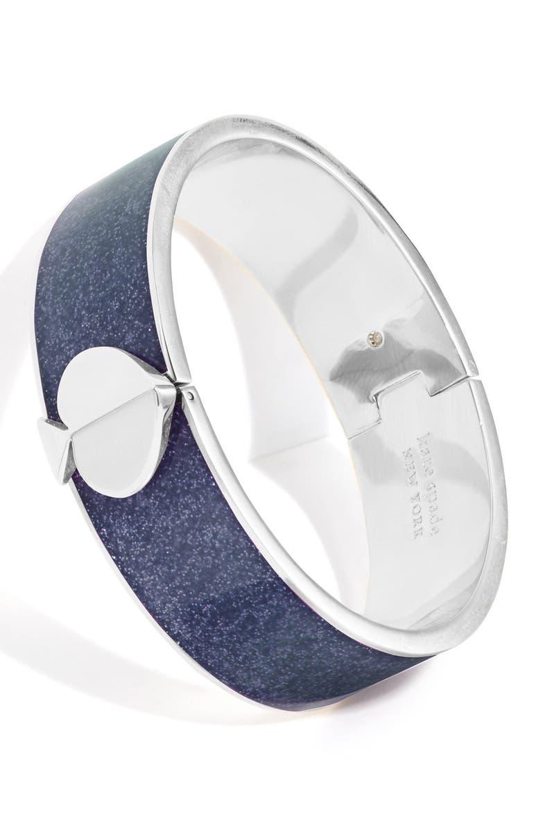 KATE SPADE NEW YORK Glitter Spade Bangle Bracelet, Main, color, NAVY