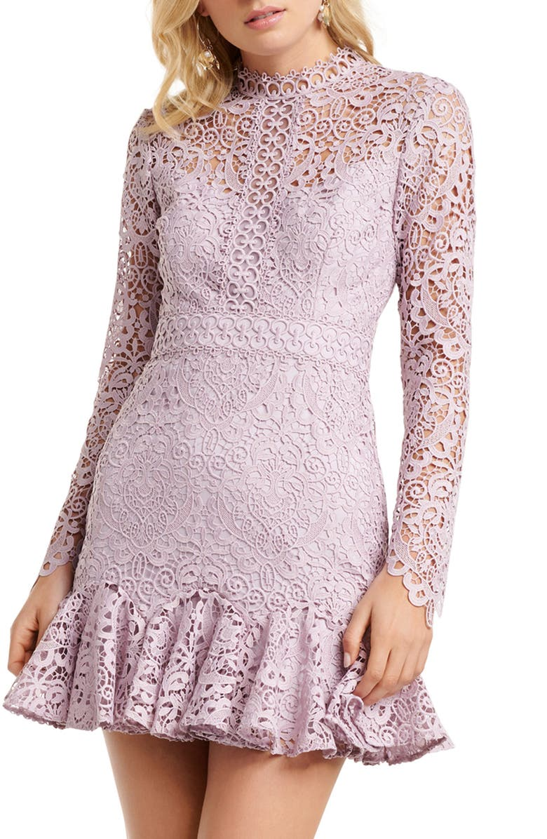 EVER NEW Apple Long Sleeve Lace Minidress, Main, color, 500