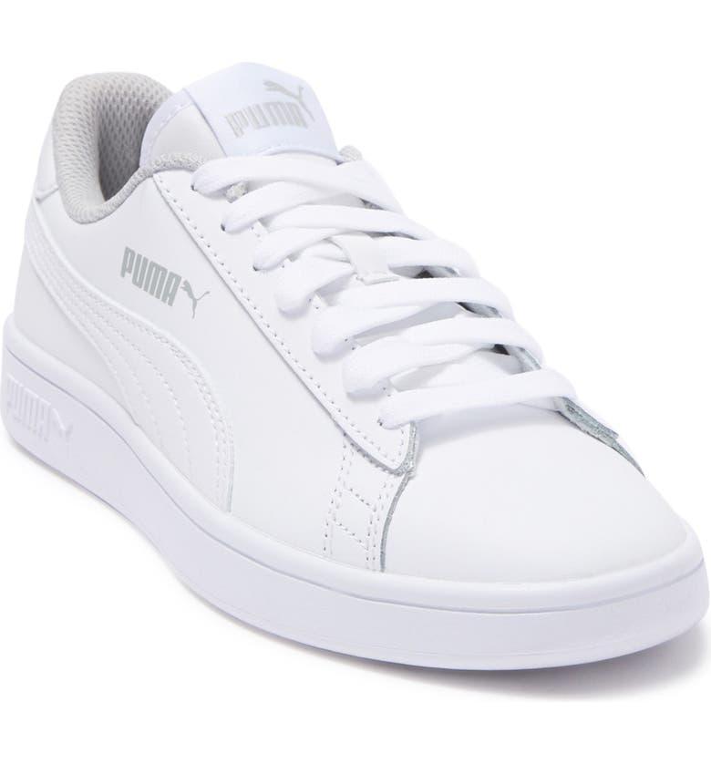 PUMA Smash V2 L Jr Leather Sneaker, Main, color, WHITE