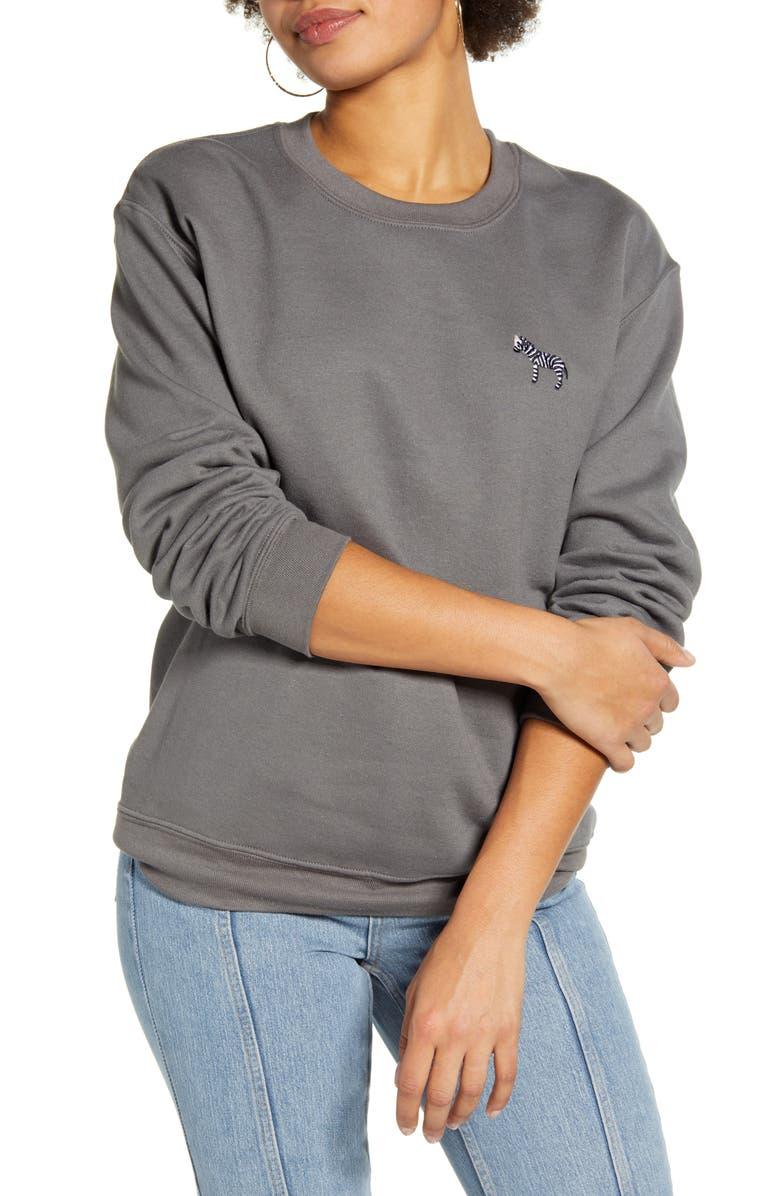 TOPSHOP Emoji Sweatshirt, Main, color, CHARCOAL