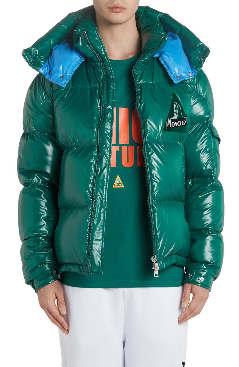 MONCLER Wilson Hooded Quilted Down Puffer Jacket, Main, color, DARK GREEN