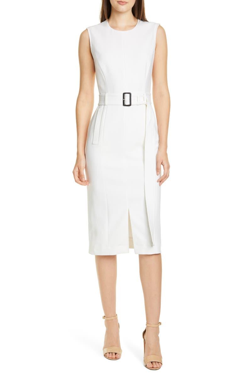 BOSS Dadoria Belted Sheath Dress, Main, color, VANILLA LIGHT