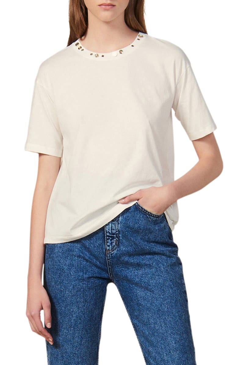 SANDRO Strassy Stud Detail Crewneck Cotton Tee, Main, color, ECRU