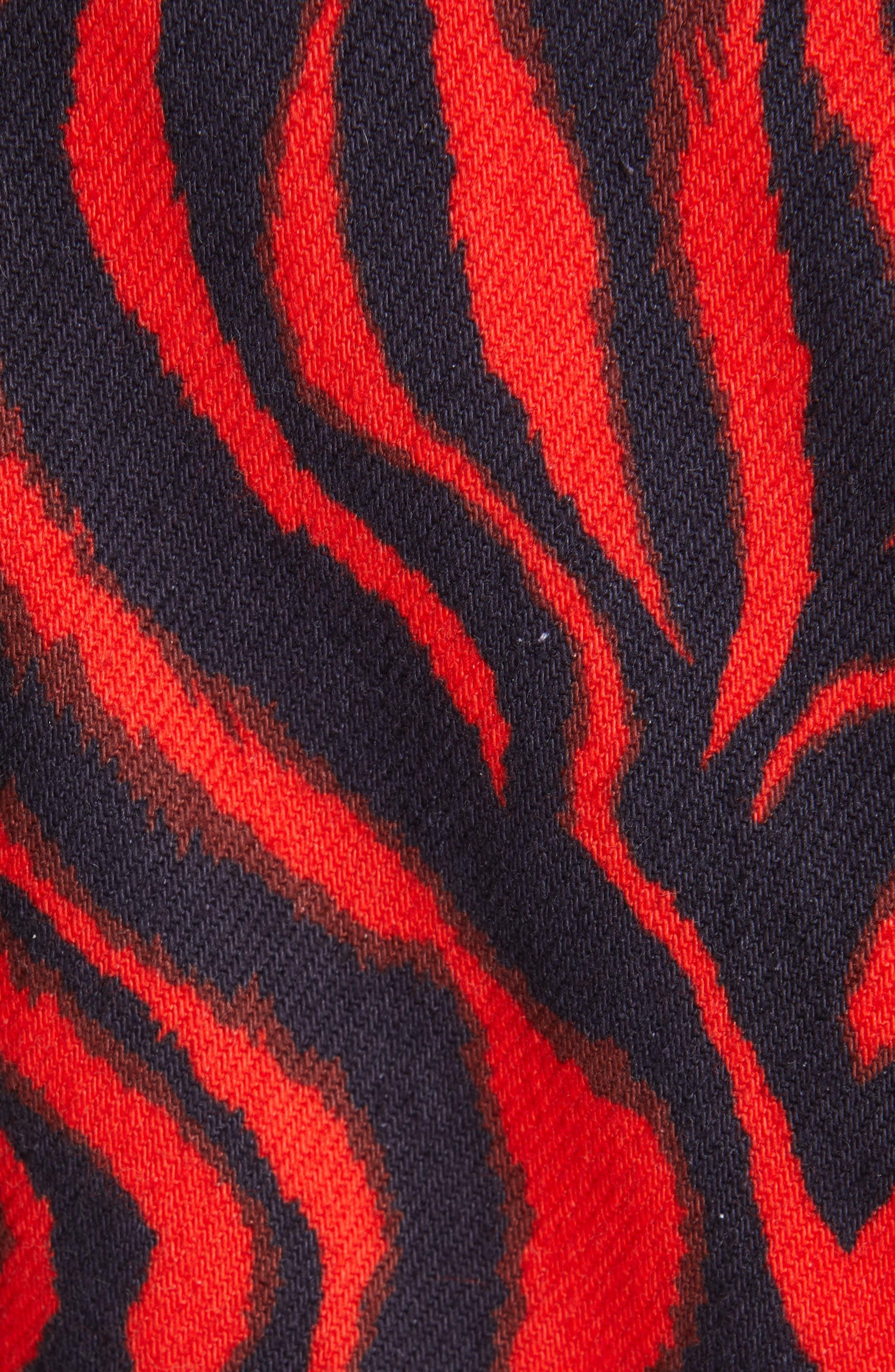 ,                             Zebra Print Denim A-Line Dress,                             Alternate thumbnail 6, color,                             RED ZEBRA