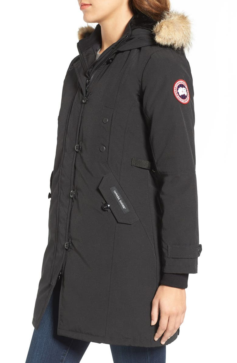 CANADA GOOSE Kensington Fusion Fit Down Parka with Genuine Coyote Fur Trim, Main, color, BLACK