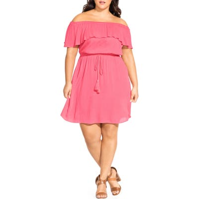 Plus Size City Chic Sunkissed Off The Shoulder Dress, Coral
