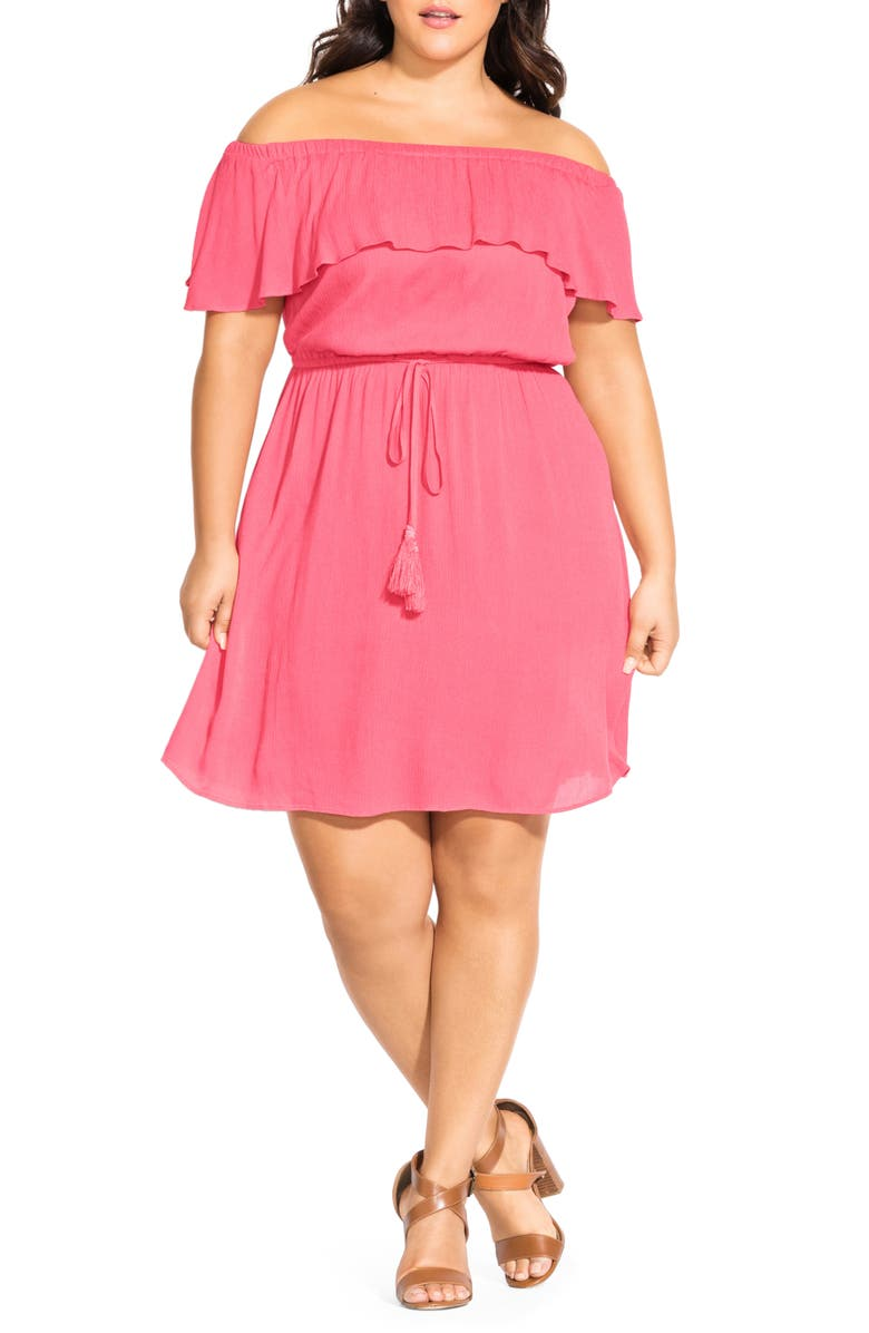 CITY CHIC Sunkissed Off the Shoulder Dress, Main, color, GUAVA