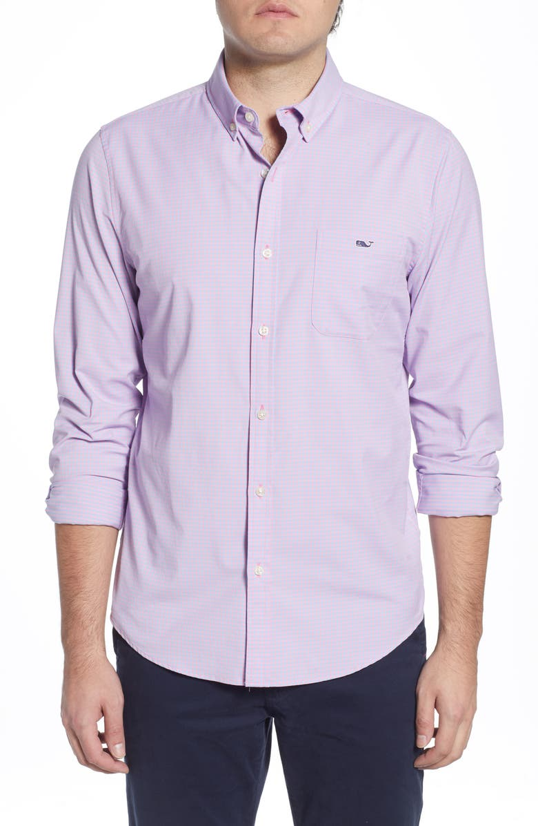 VINEYARD VINES Classic Fit Gingham Classic Fit Button-Down Performance Shirt, Main, color, COTTON CANDY