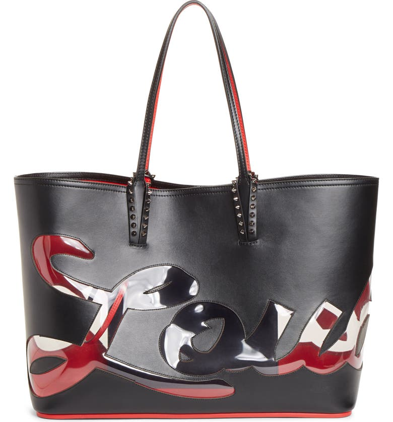 CHRISTIAN LOUBOUTIN Cabata Paris Logo Calfskin Leather Tote, Main, color, 001