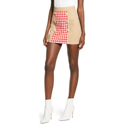 English Factory Contrast Gingham Miniskirt, Red