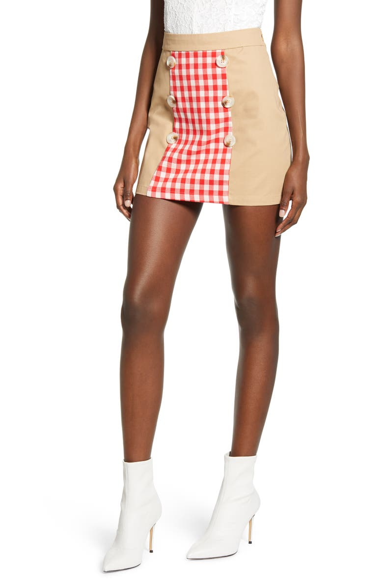 ENGLISH FACTORY Contrast Gingham Miniskirt, Main, color, RED MULTI