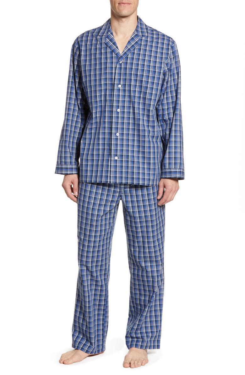 NORDSTROM MEN'S SHOP Poplin Pajama Set, Main, color, BLUE KENTUCKY PLAID