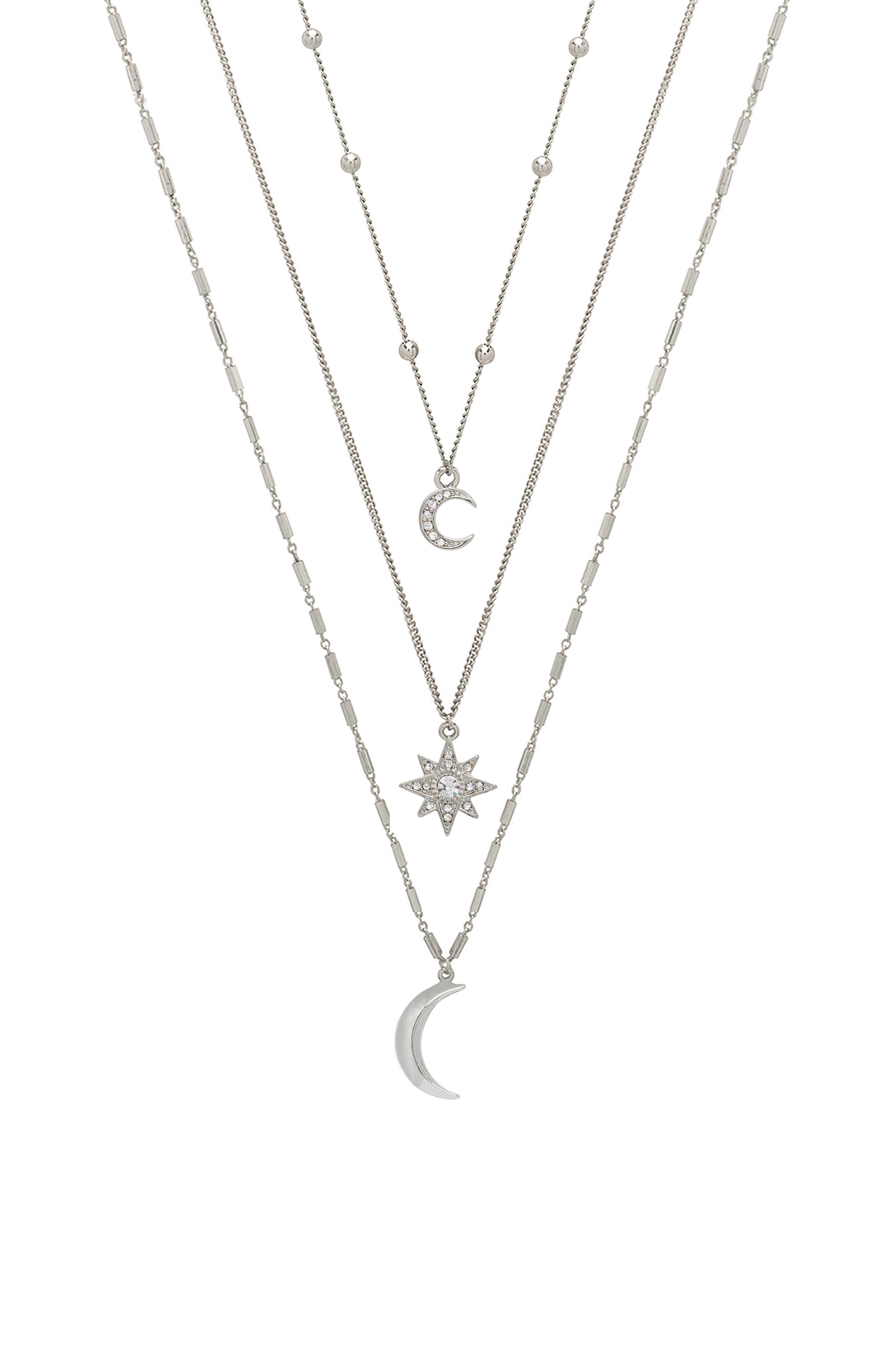 Set Of 3 Celestial Pendant Necklaces