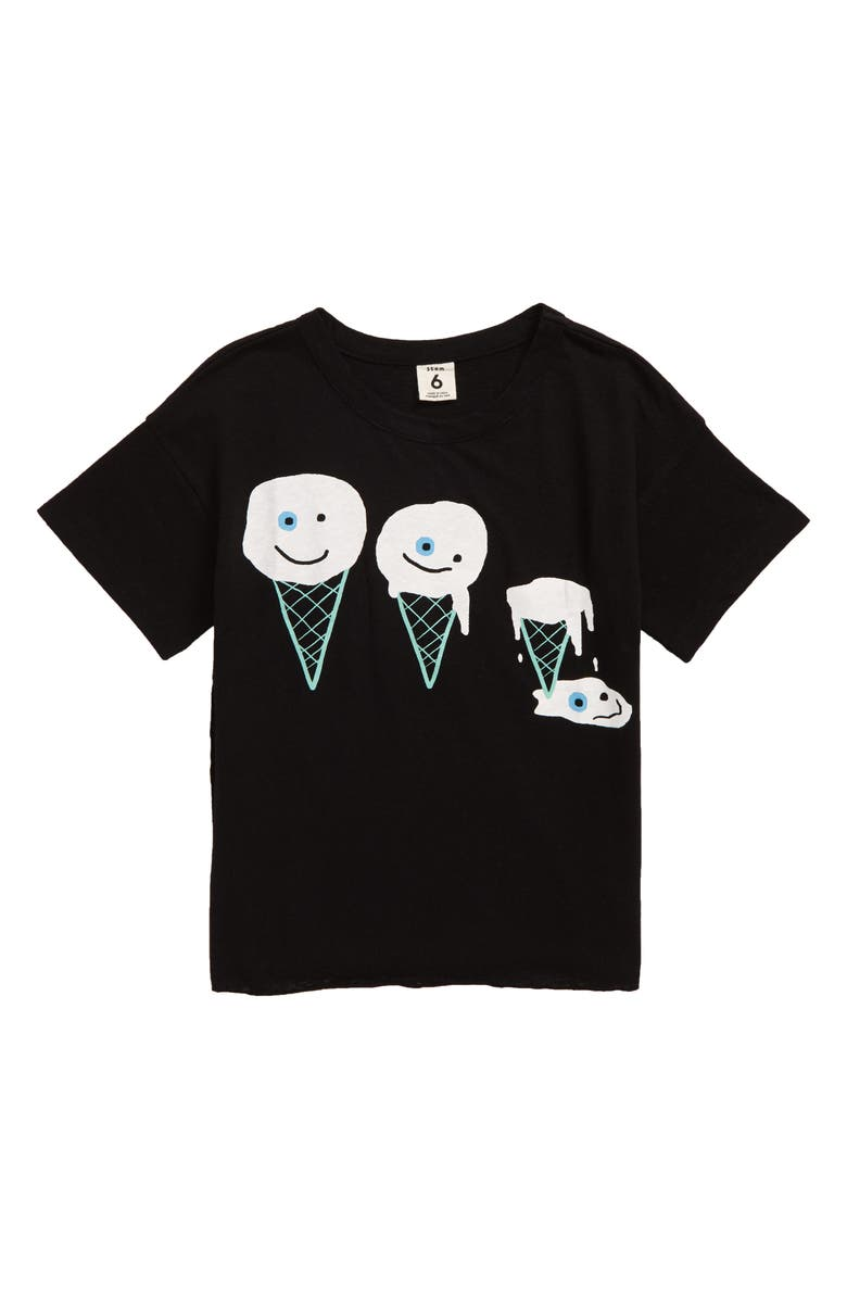 STEM Social T-Shirt, Main, color, BLACK ICE CREAM MELT