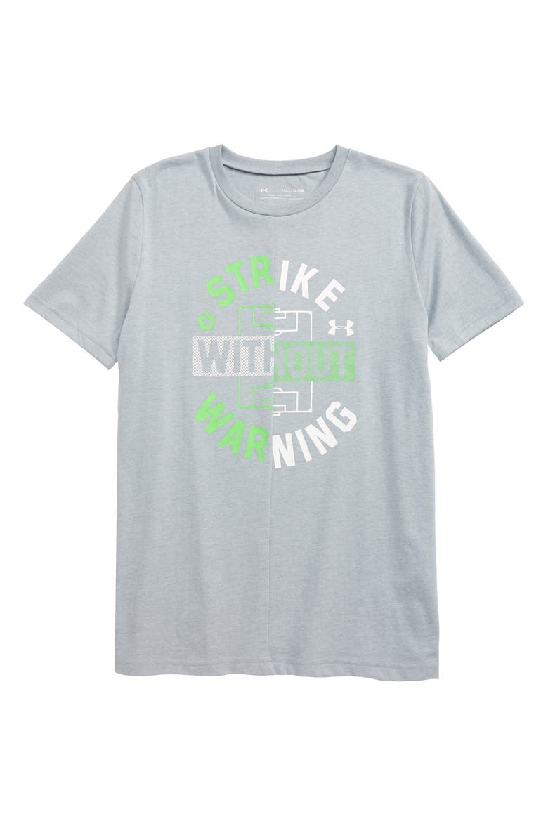 UNDER ARMOUR HeatGear<sup>®</sup> Strike without Warning Graphic T-Shirt, Main, color, MOD GRAY LIGHT HEATHER/ WHITE
