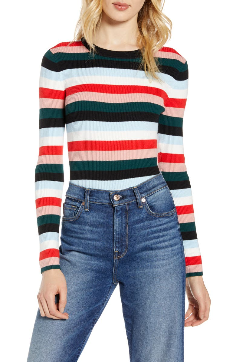 HALOGEN<SUP>®</SUP> Ribbed Sweater, Main, color, BLACK MULTI STRIPE