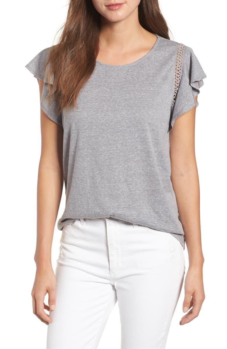CASLON<SUP>®</SUP> Flutter Sleeve Crochet Detail Top, Main, color, 030