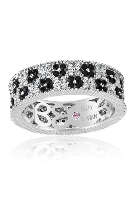 Image of Suzy Levian Sterling Silver Black & White CZ Eternity Band