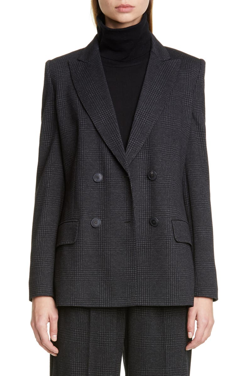 MAX MARA Madison Plaid Jacket, Main, color, DARK GREY