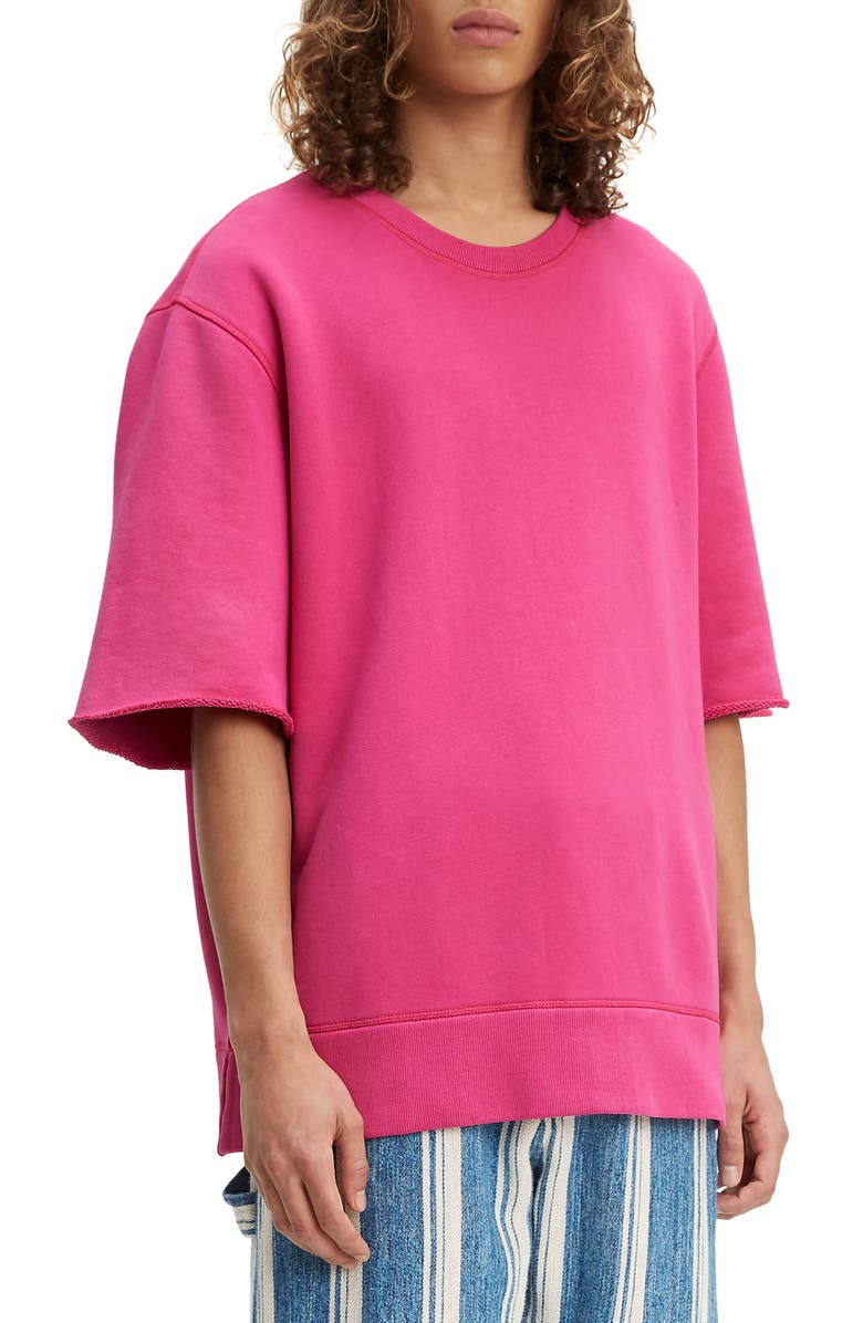 LEVI'S<SUP>®</SUP> MADE & CRAFTED<SUP>™</SUP> Boxy Fit Short Sleeve Sweatshirt, Main, color, HOT PINK